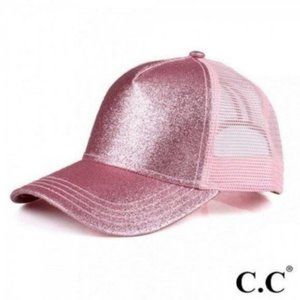 Glittery Trucker Cap with Mesh Back